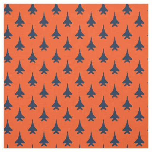 Navy Blue on Orange Eagle Fighter Jet Pattern