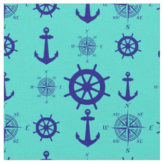Navy Blue On Turquoise Nautical Pattern Fabric