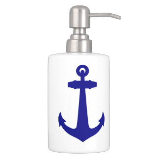 Navy Blue On White Coastal Decor Anchor Soap Dispenser And Toothbrush Holder