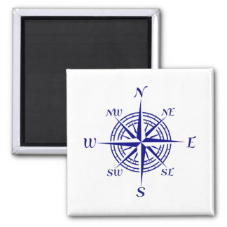 Navy Blue On White Coastal Decor Compass Rose Magnet