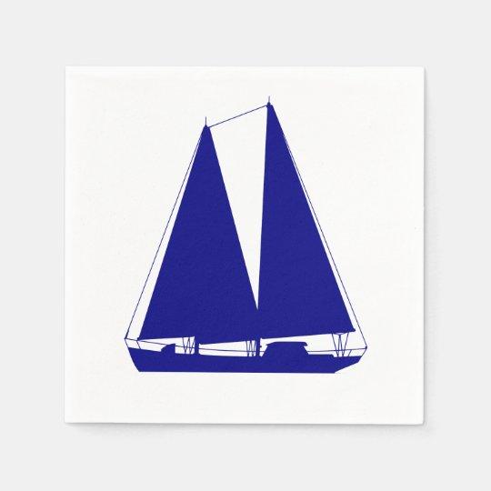 Navy Blue On White Coastal Sailboat Paper Napkin