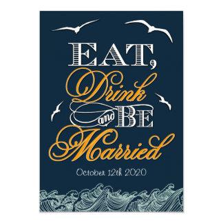 Navy Blue & Orange Nautical Wedding Invitations