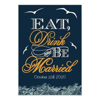Navy Blue & Orange Nautical Wedding RSVP Cards Custom Invitations