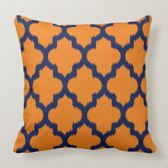 Navy Blue & Orange Quatrefoil Ikat Pattern Cushion