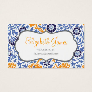 Navy Blue & Orange Retro Floral Damask Business Card