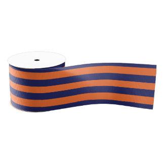 Navy Blue & Orange Striped | Any Length | Custom Grosgrain Ribbon