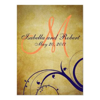 Navy Blue Orange Vintage Wedding Invitation