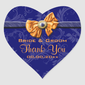 "Navy blue orange wedding ""thank you"" theme heart sticker"