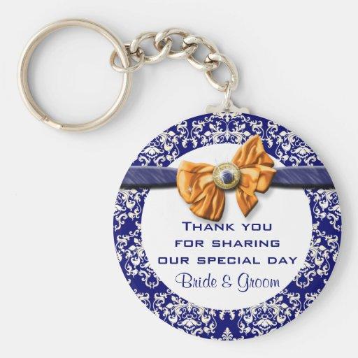 "Navy blue orange wedding ""thank you"" theme key chains"