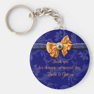 "Navy blue orange wedding ""thank you"" theme key ring"