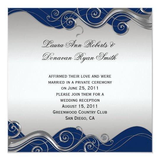 Navy Blue Ornate Silver Swirls Post Wedding Celebr