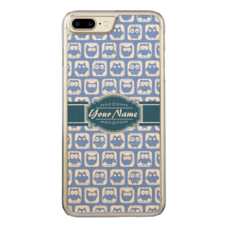 Navy Blue Owl Name Carved iPhone 8 Plus/7 Plus Case