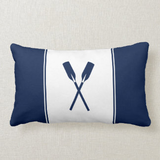 Navy Blue Paddles Nautical Lumbar Pillow