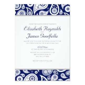 Navy Blue Paisley Wedding Invitations