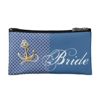 Navy Blue pattern anchor nautical wedding Makeup Bag