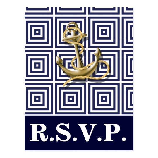 Navy Blue pattern anchor nautical wedding rsvp Postcard