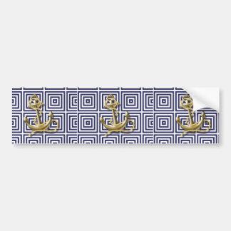 navy blue pattern nautical anchor preppy bumper sticker