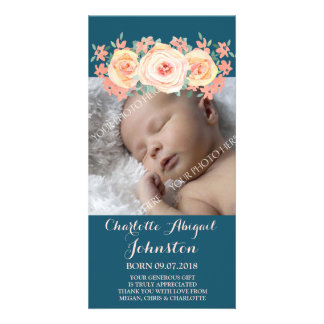 Navy Blue Peach Flowers Thank You Baby Shower Personalised Photo Card