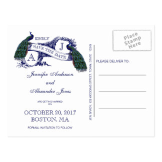 Navy Blue Peacock Save the Date Postcard