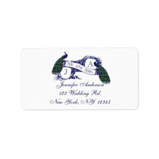 Navy Blue Peacock Wedding RSVP Label