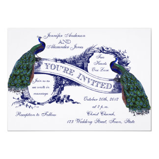 Navy Blue Peacocks Vintage Wedding Card