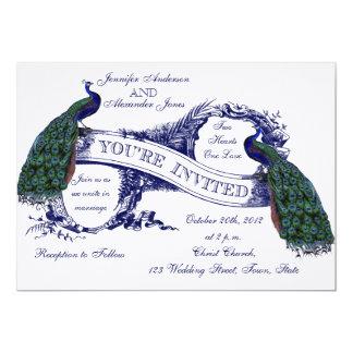 Navy Blue Peacocks Vintage Wedding Card
