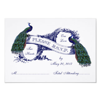 Navy Blue Peacocks Vintage Wedding RSVP Card