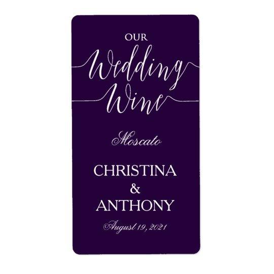 Navy Blue Personalised Wedding Wine Label