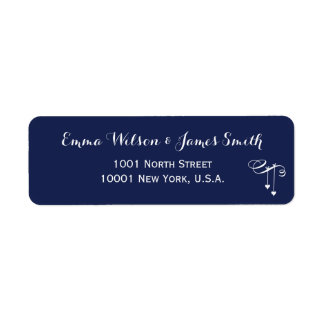 Navy Blue Personalized Address Labels With Hearts
