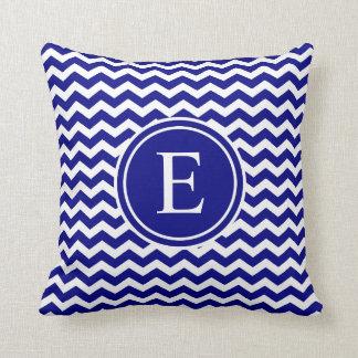 Navy Blue Personalized Chevron Monogram Cushion