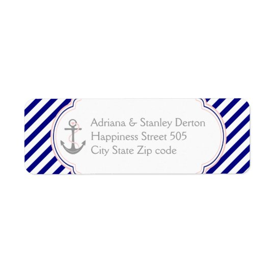 Navy blue, pink anchor nautical wedding return address label