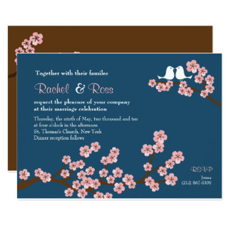 Navy Blue & Pink Cherry Blossom Garden Wedding Card