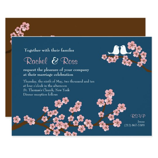 Navy Blue & Pink Cherry Blossom Garden Wedding