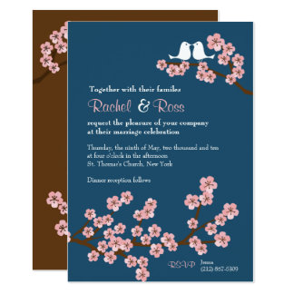 Navy Blue & Pink Cherry Blossom Spring Wedding Card
