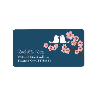 Navy Blue & Pink Cherry Blossom Spring Wedding Label