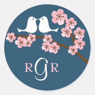 Navy Blue & Pink Cherry Blossom Spring Wedding Round Sticker
