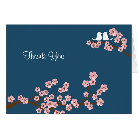 Navy Blue & Pink Cherry Blossom Thank You