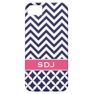 Navy Blue & Pink Chevron Custom Monogram Barely There iPhone 5 Case