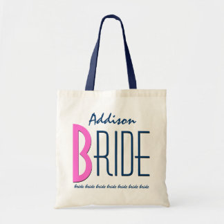 Navy Blue Pink Custom Name Personalized Bride V12A Budget Tote Bag