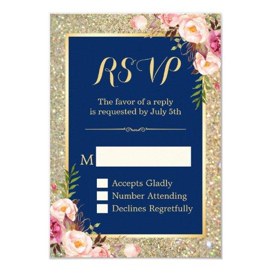 Navy Blue Pink Floral Gold Glitter Sparkling RSVP