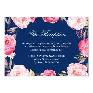 Navy Blue Pink Floral Wedding Details Reception Card