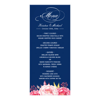 Navy Blue Pink Floral Wedding Menu Template Full Colour Rack Card