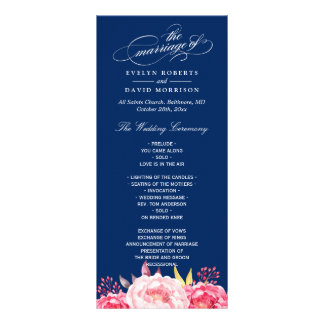 Navy Blue Pink Floral Wedding Program Template Rack Card