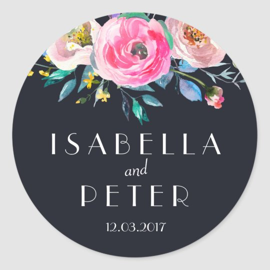 Navy Blue Pink Floral Wedding Sticker