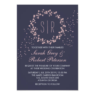 Navy Blue Pink Floral Wreath Wedding Invitation