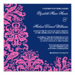 Navy Blue Pink Flourish Damask Wedding Invitations