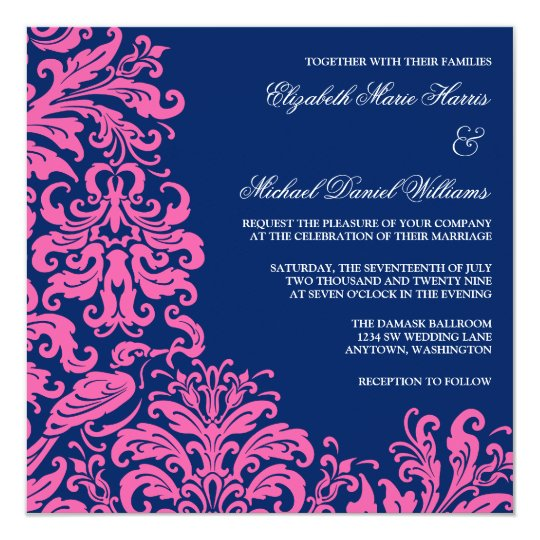 3b7d5573bb54 Navy Blue Pink Flourish Damask Wedding Invitations