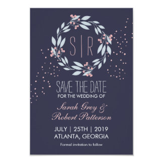 Navy Blue Pink Flower Wreath Wedding Save The Date 9 Cm X 13 Cm Invitation Card