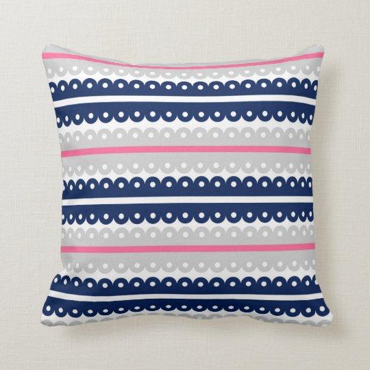 Navy Blue Pink Grey Lace Ribbon Stripe Pillow