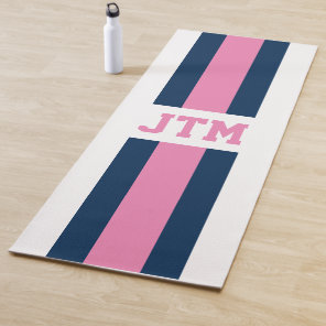 Navy Blue Pink Monogram Striped Personalised Yoga Mat